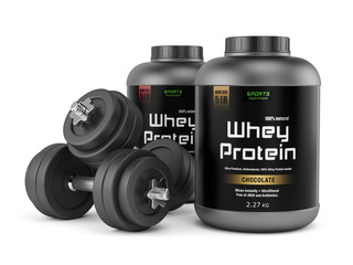 Two dumbbells and jars of protein