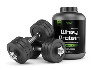 Dumbbells and jar of protein