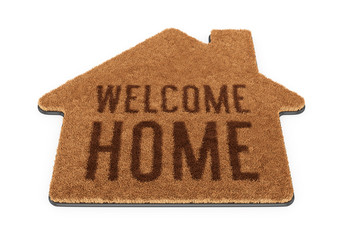 Brown house shape welcome mat