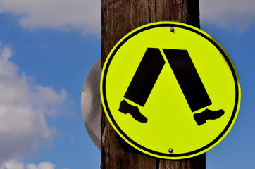 Pedestrian road sign and symbol