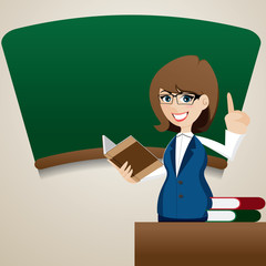 cartoon cute teacher teaching at blackboard