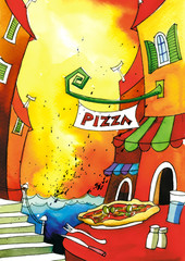 Pizzeria at sea town