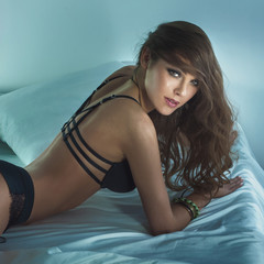 Sensual brunette woman in lingerie