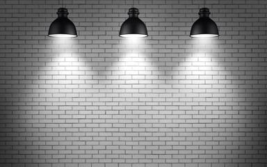 lamps at brick wall