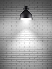 lamp at brick wall