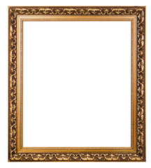 Gold Vintage frame isolated on white.