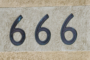 Number 666 sign and symbol