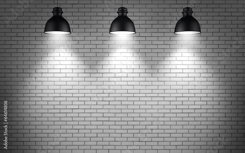 lamps at brick wall