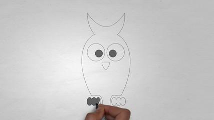 Eule Eulen Uhu Kauz Zeichnung Handzeichnung