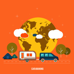 Caravaning near the tree. Caravaning tourism.