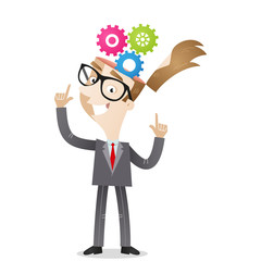 Businessman, cog wheels, head, thinking, process