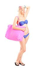 Woman in bikini feeling hot