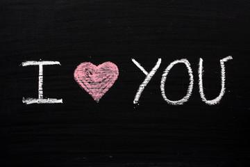 I Heart You on a Blackboard
