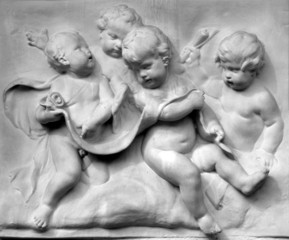 italian antique art, bas relief with four young children