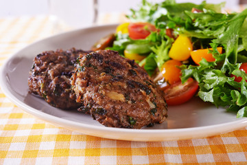 beef meatballs and salad