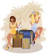 Two summer travel girls, vector illustration