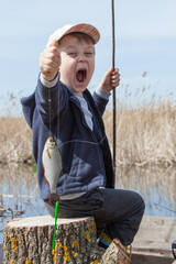 Boy while fishing
