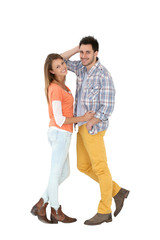 Cheerful trendy couple on white background