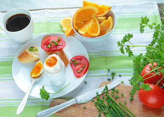 Breakfast with boiled egg and healthy vegetables
