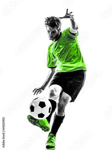 canvas print picture soccer football player young man kicking silhouette