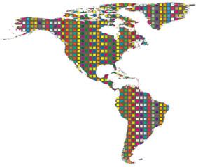 Abbildung Kontinent Amerika als Mosaik