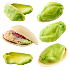Pistachios isolated on a white background. Collection
