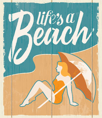 Vintage retro beach poster - Vector wooden sign.