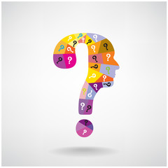 colorful question mark man head symbol