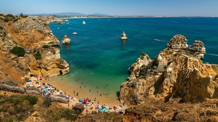 Camilo Beach in Lagos, Time Lapse, Algarve, Portugal