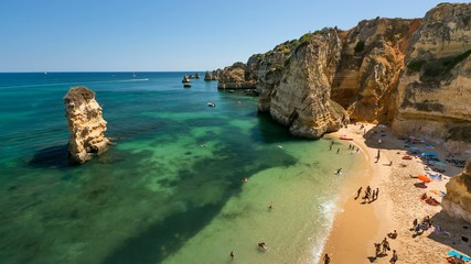Famous Dona Ana Beach in Lagos, Time Lapse, Portugal