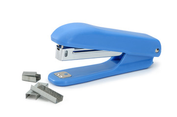 Blue office stapler with metal brackets.