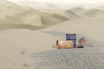 Ölfässer im Wüstensand