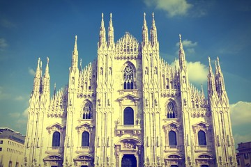 Milan cathedral. Cross processing color tone.