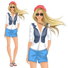Blond hipster girl