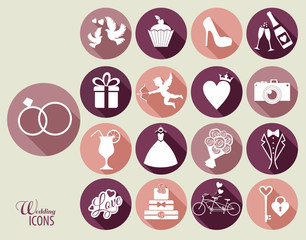 Wedding icon flat design icons