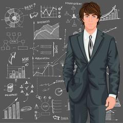 Business man sketch background