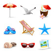 Realistic Summer Vacation Icons - 64622828
