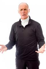 Senior man shrugging with raised hands
