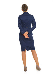 Full length portrait of business woman. rear view