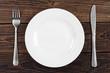 Leinwandbild Motiv Empty plate, fork and knife