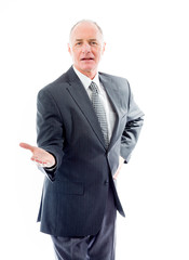 Businessman showing product with open hand palm