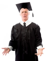 Senior male graduate questioning