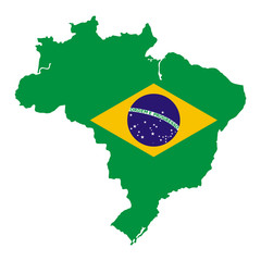 Brazil map with national flag