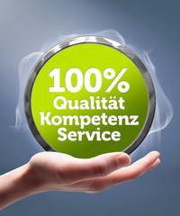 100% Qualität, Service, Kompetenz! Button, Icon
