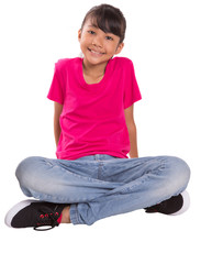 Young Asian Malay girl in pink tshirt and a pair of blue denim