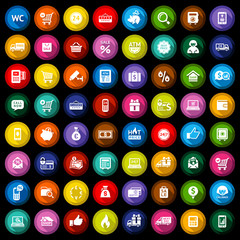 Shopping flat colored icons set