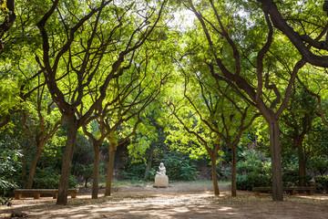 Statua tra gli alberi, Barcellona, Spagna