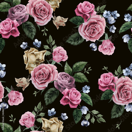 Vector seamless floral pattern with roses on black background - 64627637