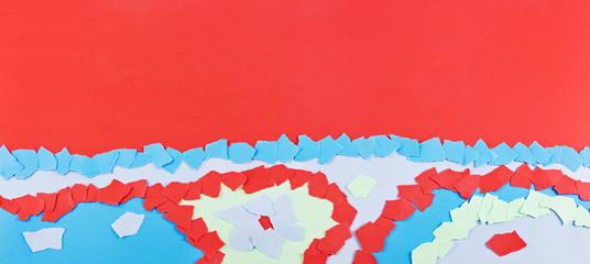 Roter und blauer Papier Hintergrund