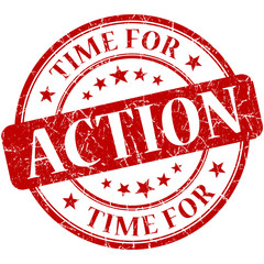 Time for action red round grungy vintage isolated rubber stamp